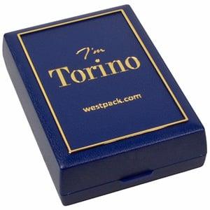 Torino écrin pour pendentif/ parure, 3 pièces Plastique bleu, liseré doré / Mousse noire 55 x 80 x 20