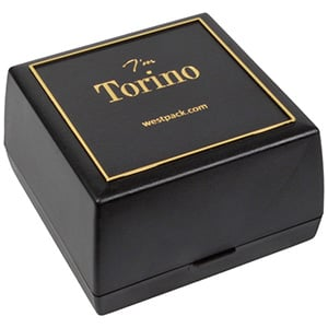 Torino Jewellery Box for Watch / Bangle Black plastic with gold tooling/ Pre-shaped insert 80 x 80 x 50
