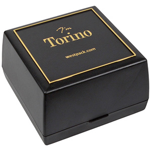 Torino sieradendoosje voor horloge / armring Zwart kunststof met gouden bies/ Zwart interieur 80 x 80 x 50