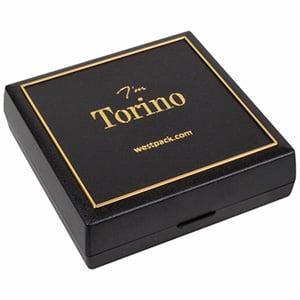 Torino sieradendoosje voor dasspeld/ manchetknopen Zwart kunststof met gouden bies/ Zwart foam 80 x 80 x 25