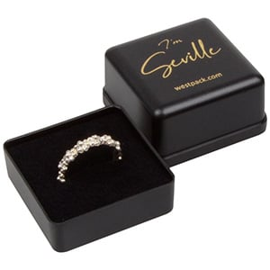 Seville smykkeæske til ring Mat sort plast/ Sort skumindsats 40 x 40 x 33