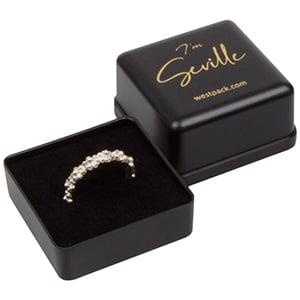 Seville Jewellery Box for Ring Matt Black Plastic / Black Foam Interior 40 x 40 x 33