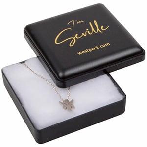 Seville universal smykkeæske, medium Mat sort plast / Hvid vatindsats 60 x 60 x 21