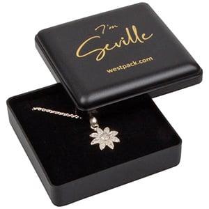 Seville Jewellery Box for Drop Earrings / Pendant Matt Black Plastic / Black Foam Interior 60 x 60 x 21