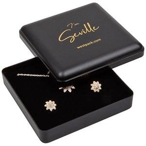 Seville smykkeæske til halskæde/ armbånd/ armring Mat sort plast/ Sort skumindsats 80 x 80 x 24