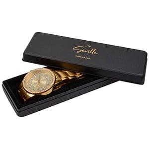 Seville sieradendoosje voor horloge Mat zwart kunststof/ Witte watten 135 x 46 x 21