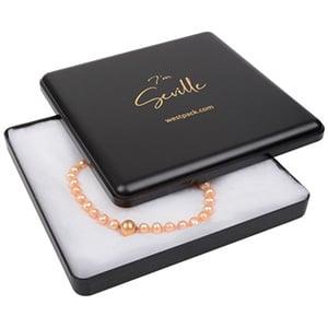 Seville sieradendoosje voor collier/ choker Mat zwart kunststof/ Witte watten 160 x 160 x 27