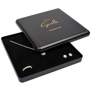 Seville sieradendoosje voor collier/ choker Mat zwart kunststof/ Zwart foam 160 x 160 x 27