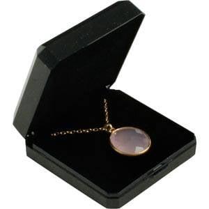 Verona smykkeæske til vedhæng / øreringe Blank sort plast med glitter og guldkant/Sort skum 60 x 60 x 23