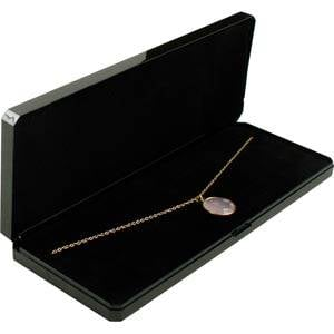 Verona Rectangular Jewellery Box for Necklace Glossy Black plastic with gold tooling/ Black Foam 210 x 80 x 25