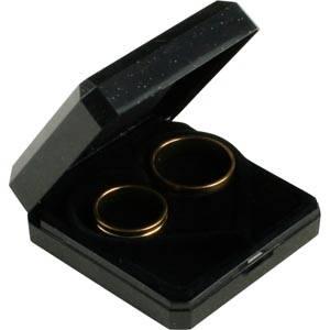 Verona smykkeæske til vielsesringe Sort plastik m guldkant/ Sort hjerteformet indsats 60 x 60 x 23