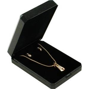 Verona Jewellery Box for Chain with Large Pendant Glossy Black plastic with gold tooling/ Black Foam 60 x 85 x 23