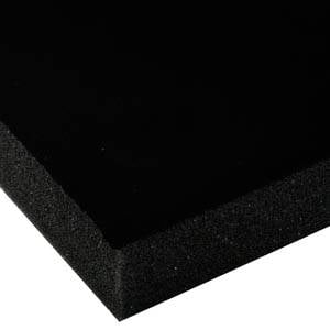 Foam covered with velour, 25 mm thick Black Velour / Black Foam 25 x 470