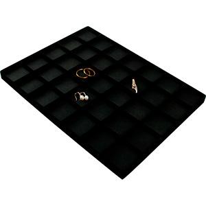 Insertion pour petit plateau: 35x universelle Cloison noire / Coussins en similicuir noir 207 x 274