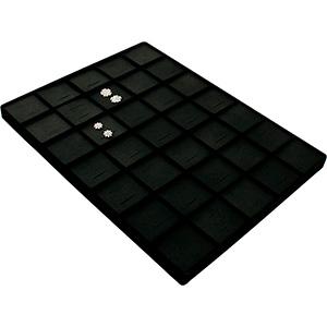 Insert voor Klein Tableau: 35x Oorsieraden Zwarte Partitie/ Zwarte Nabuca kunstleer kussens 207 x 274