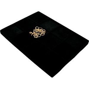 Insertion universelle pour petit plateau: 12x Cloison noire / Coussins en velours noir 207 x 274