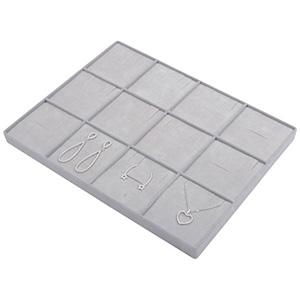 Insertion pour petit plateau : 12 compartiments Cloison gris clair/ Coussins en velours gris clair 207 x 274