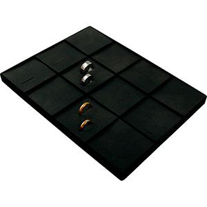 Insertion pour petit plateau : 12x alliances Cloison noire / Coussins en similicuir noir 207 x 274