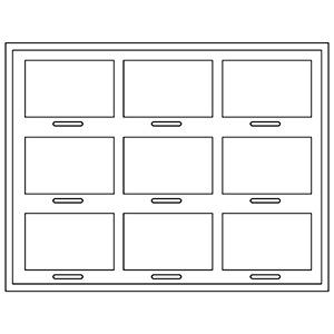 Insert voor Klein Tableau: 9x Universeel H- / voor prijsblokjes 284 x 216 x