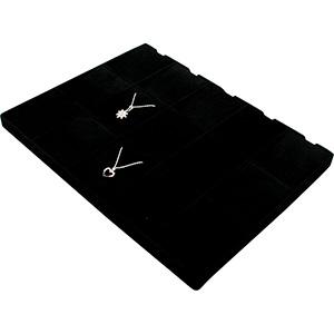 Insertion pour petit plateau : 15 pendentifs Cloison noire / Coussins en velours noir 207 x 274