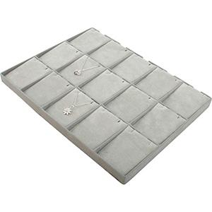 Insertion pour petit plateau : 15 pendentifs Cloison gris clair/ Coussins en velours gris clair 207 x 274