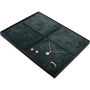 Insertion pour petit plateau : 4x parures Cloison gris foncé/ Coussins en velours gris foncé 207 x 274