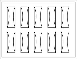 Plateau 10 montres dames, P.M. H - avec supports plastiques transparents (2 cm) 284 x 216 x