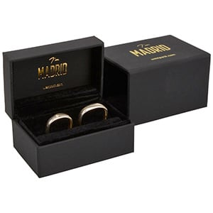 Madrid Jewellery Box for Wedding Rings Matt Black Soft-touch / Black Velour Interior 75 x 49 x 39