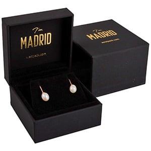 Madrid sieradendoosje voor oorbellen / hanger Mat zwart soft-touch / Zwart velours interieur 68 x 68 x 41