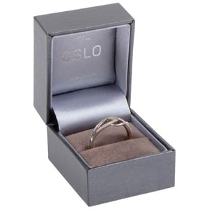 Oslo Jewellery Box for Ring Metallic Grey Leatherette / Grey Velour Interior 46 x 52 x 43