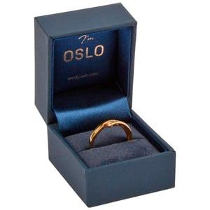 Oslo sieradendoosje voor ring Donkerblauw kunstleer/ Donkerblauw velours insert 46 x 52 x 43