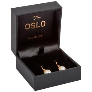 Oslo Jewellery Box for Earrings / Small Pendant Black Leatherette / Black Velour Interior 64 x 64 x 39