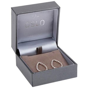 Oslo Jewellery Box for Earrings / Small Pendant Metallic Grey Leatherette / Grey Velour Interior 64 x 64 x 39