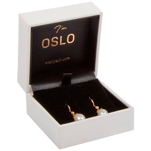 Oslo Jewellery Box for Earrings / Small Pendant White Leatherette / Black Velour Interior 64 x 64 x 39