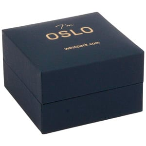 Oslo Jewellery Box for Earrings / Small Pendant Dark Blue Leatherette / Dark Blue Velour Interior 64 x 64 x 39