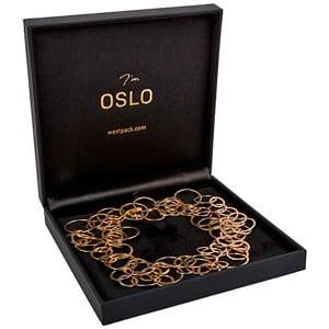 Oslo sieradendoosje voor collier/ choker, klein Zwart kunstleer/ Zwart velours interieur 160 x 160 x 34