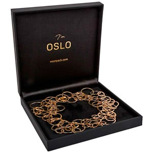 Oslo Jewellery Box for Necklace, Small Black Leatherette / Black Velour Interior 160 x 160 x 34