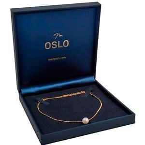 Oslo sieradendoosje voor collier/ choker, klein Donkerblauw kunstleer/ Donkerblauw velours insert 160 x 160 x 34