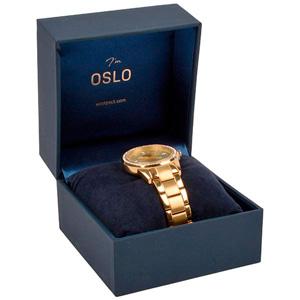 Oslo écrin pour montre/ bracelet rigide Similicuir bleu foncé/ Intérieur velours bleu 100 x 100 x 75