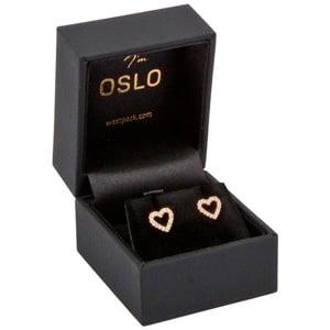Oslo sieradendoosje voor oorbellen/ knopjes/ ring Zwart kunstleer/ Zwart velours interieur 46 x 52 x 43