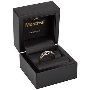 Montreal opakowania na pierścionki Czarne matowe/ drewniane / czarna wkładka 62 x 62 x 55