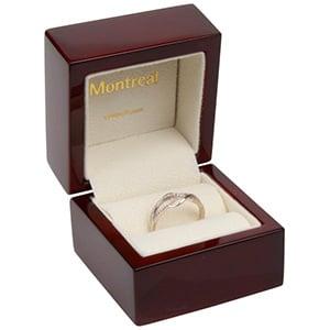 Montreal opakowania na pierścionki Kolor machoń / drewniane / kremowa wkładka 62 x 62 x 55