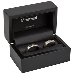 Montreal Jewellery Box for Wedding Rings Matt Black Wood/ Black Leatherette Interior 85 x 55 x 55