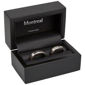 Montreal opakowania na obrączki Czarne matowe/ drewniane / czarna wkładka 85 x 55 x 55