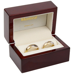 Montreal Jewellery Box for Wedding Rings Glossy Mahogany Wood/ Cream Velour Interior 85 x 55 x 55