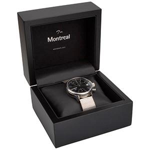 Montreal opakowania na bransoletki, zegarki Czarne matowe/ drewniane / czarna wkładka 125 x 115 x 87