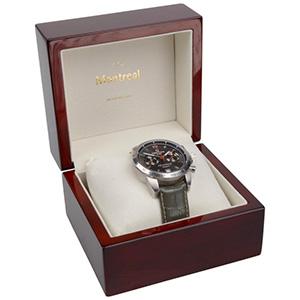 Montreal opakowania na bransoletki, zegarki Kolor machoń / drewniane / kremowa wkładka 125 x 115 x 87