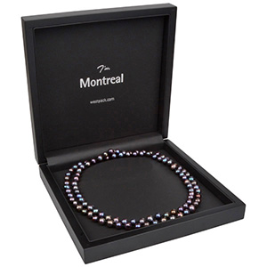 Montreal Jewellery Box for Necklace Matt Black Wood/ Black Leatherette Interior 200 x 200 x 49