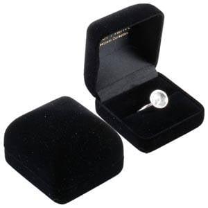 Baltimore sieradendoosje voor ring Zwart geflockt kunststof/ Zwart velours interieur 50 x 53 x 42