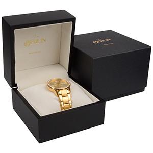 Berlin Jewellery Box for Watch Matt Black Wood/ Cream Velour Interieur 110 x 110 x 80